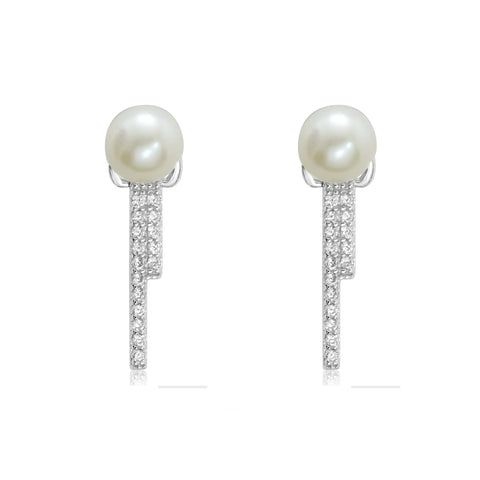 CZ Sterling Silver Pearl Irregular Dangle Earrings Studs Women