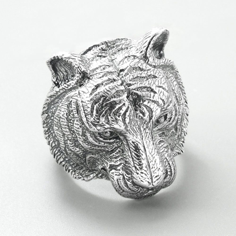 Solid Sterling Silver Tiger Ring for Men 2