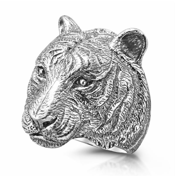 Solid Sterling Silver Tiger Ring for Men