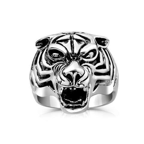 Solid Sterling Silver Tiger Head Ring for Men