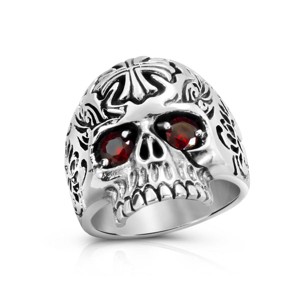 Solid Silver Cross and Skull Ring, Skull Sterling Silver Rings for Men