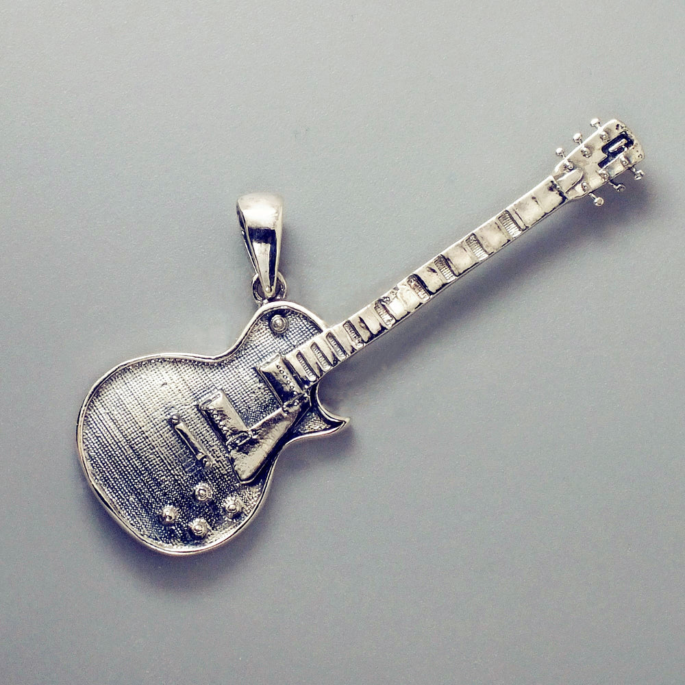 Sterling Silver Musical Jewelry Rock Electric Guitar Pendant