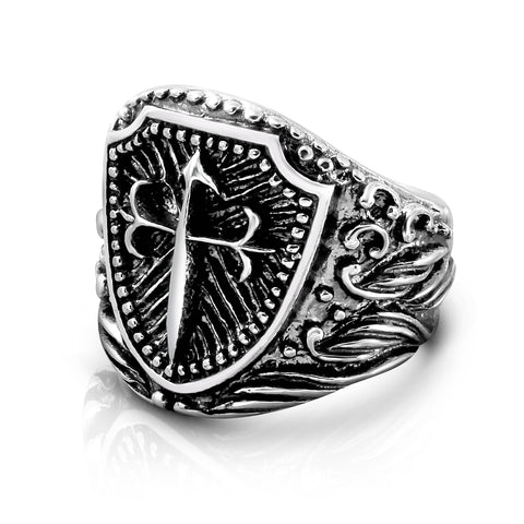 Sterling Silver Cross Shield Ring