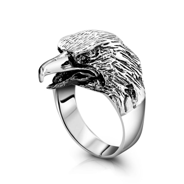 Mens Sterling Silver Eagle Ring, Vintage Eagle Head Ring