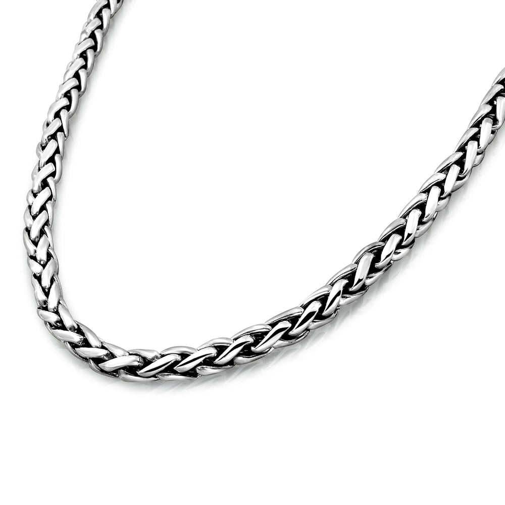Sterling Silver 5mm Wheat Chain Necklace for Men 3