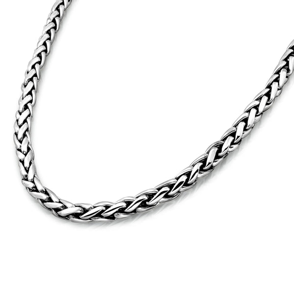 Sterling Silver 5mm Wheat Chain Necklace for Men