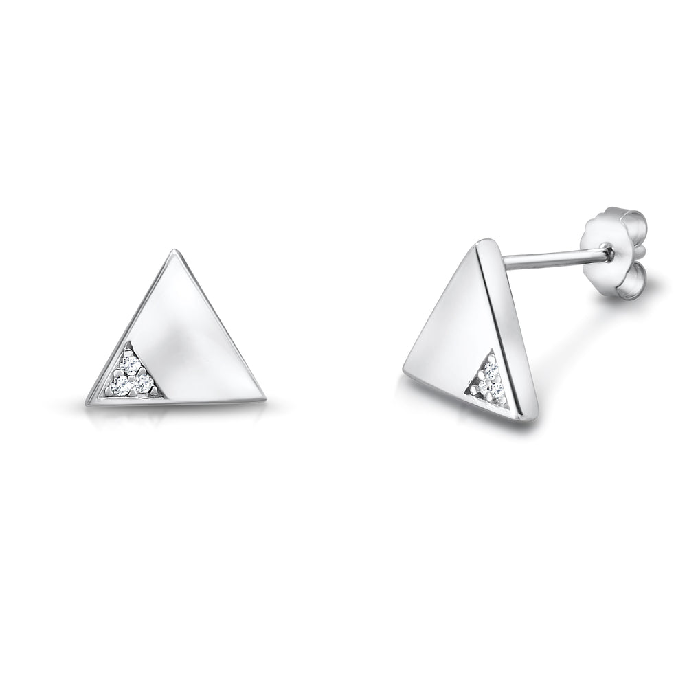 CZ Sterling Silver Triangle Earrings