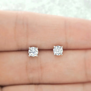 925 Sterling Silver 0.9 Carat Cubic Zirconia Earrings Studs 2