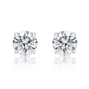 Sterling Silver 2.8 Carat 6mm Cubic Zirconia Earrings