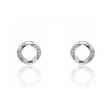 Graceful 925 Sterling Silver Cubic Zirconia Stud Earrings 11.5mm - Jewelry - Prjewel.com - 1