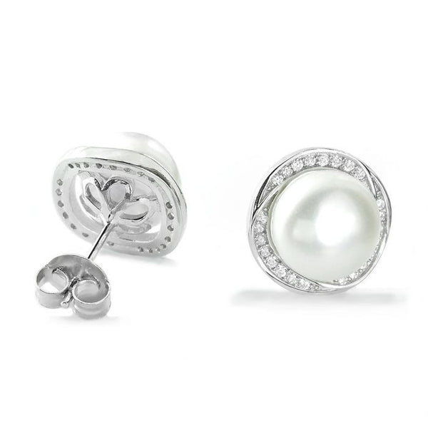 Gorgeous 925 Sterling Silver 8-9mm Pearl CZ Stud Earrings - Jewelry - Prjewel.com - 1