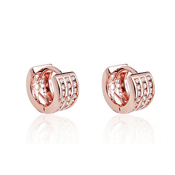 Beautiful Rose Gold Plated Silver 1.25 Ct Cubic Zirconia Hoop Earrings - Jewelry - Prjewel.com - 1