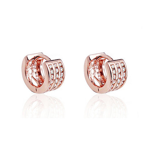 Beautiful Rose Gold Plated Silver 1.25 Ct Cubic Zirconia Hoop Earrings