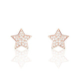 Cute Star CZ Rose Gold Plated 925 Sterling Silver Stud Earrings - Jewelry - Prjewel.com - 1