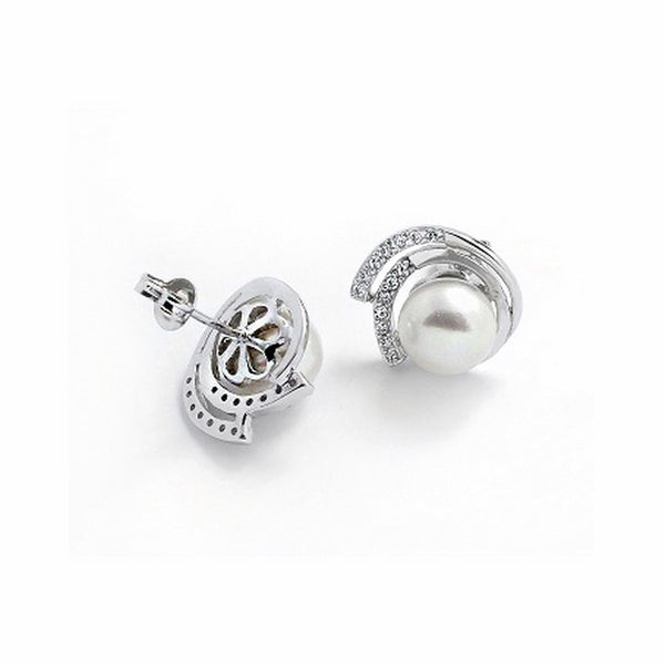Sterling Silver 8-9mm Pearl Cubic Zirconia Stud Earrings - Jewelry - Prjewel.com - 2