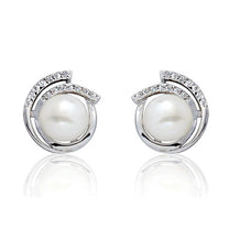 Sterling Silver 8-9mm Pearl Cubic Zirconia Stud Earrings - Jewelry - Prjewel.com - 1