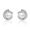Sterling Silver 8-9mm Pearl Cubic Zirconia Stud Earrings