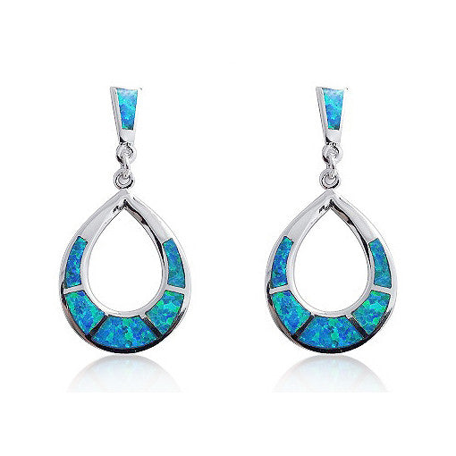 925 Sterling Silver Synthetic Opal Earrings