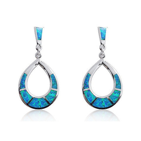 925 Sterling Silver Synthetic Opal Earrings - Jewelry - Prjewel.com - 1