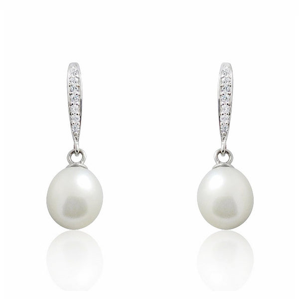 Sterling Silver 7-8mm Pearl CZ Drop Earrings