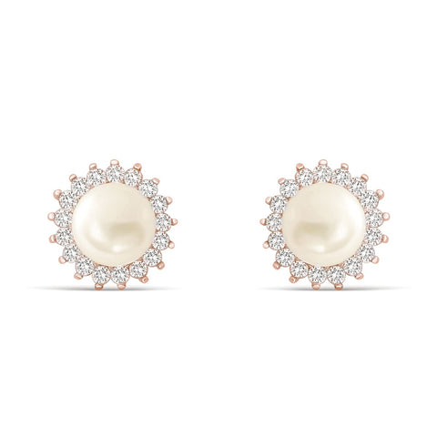 Gracious Rose Gold Plated 925 Silver CZ Pearl Stud Earrings
