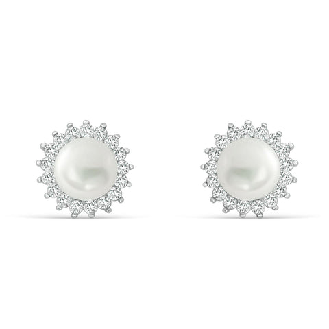 Gracious 925 Sterling Silver 7-8mm Pearl CZ Stud Earrings