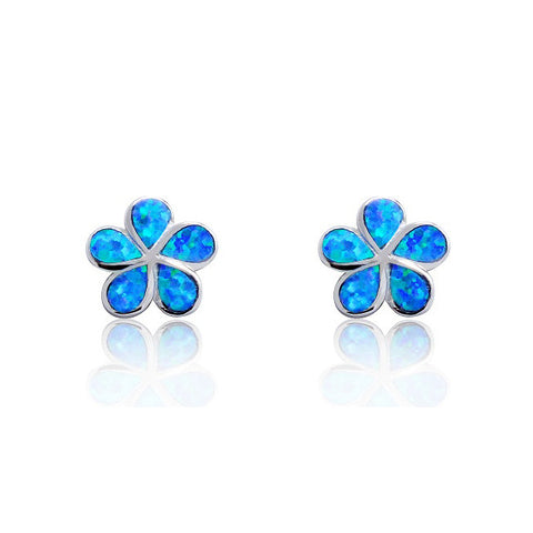 Beautiful Flower 925 Sterling Silver Synthetic Opal Stud Earrings - Jewelry - Prjewel.com - 1