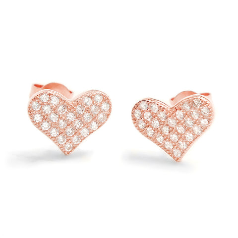 Pretty 925 Sterling Silver 0.75 Carat Cubic Zirconia Heart Stud Earrings Rose - Jewelry - Prjewel.com - 1