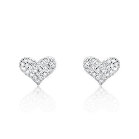 Pretty 925 Sterling Silver 0.75 Ct CZ Heart Stud Earrings - Jewelry - Prjewel.com - 1