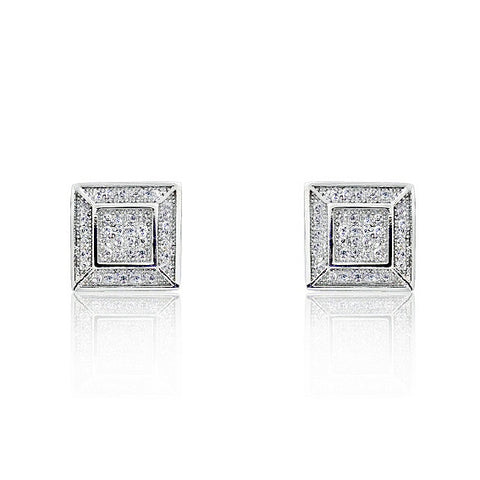 925 Sterling Silver Micro Pave Setting 0.80 Carat CZ Stud Earrings - Jewelry - Prjewel.com - 1