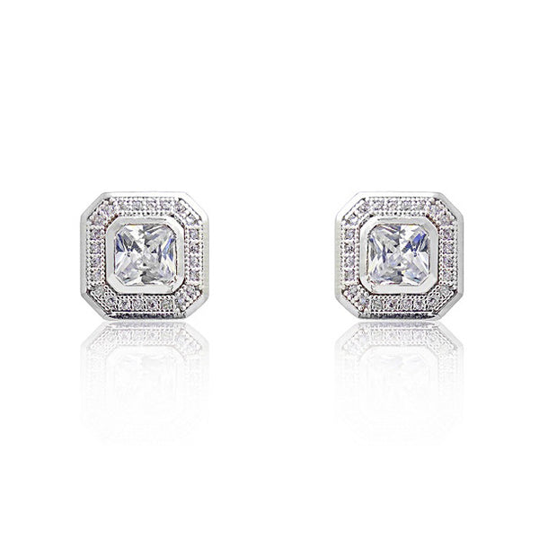 925 Sterling Silver Micro Pave Setting Octagonal Cut CZ Stud Earrings - Jewelry - Prjewel.com - 1