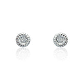 Fancy 925 Sterling Silver 0.04 Carat Real Diamond Beautiful Stud Earrings - Jewelry - Prjewel.com - 1
