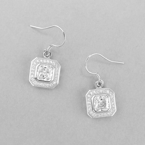 Gorgeous 925 Sterling Silver Micro Pave and Octagonal cut CZ Earrings - Jewelry - Prjewel.com - 1