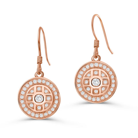 Rose Gold Plated Sterling Silver Pave CZ Drop Earrings