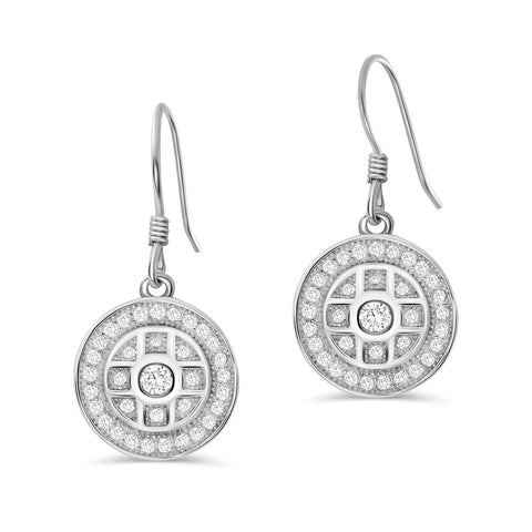 925 Sterling Silver Pave CZ Drop Earrings