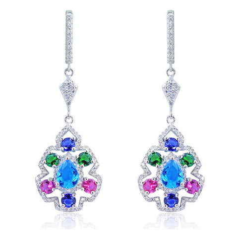 Gorgeous 925 Sterling Silver Multi-color Crystal Cubic Zirconia Earrings
