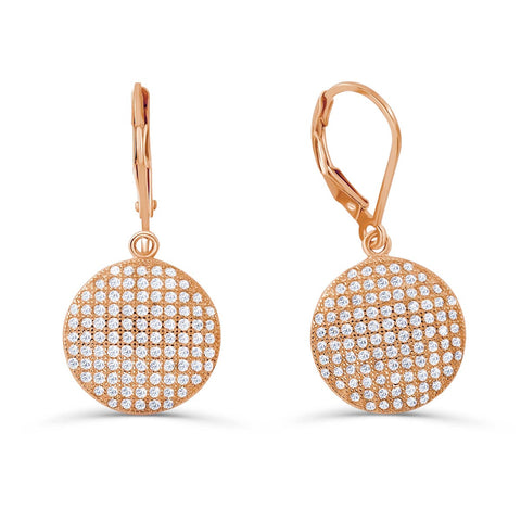 Rose Gold Plated 925 Silver CZ Dot Micro Pave Setting Earrings