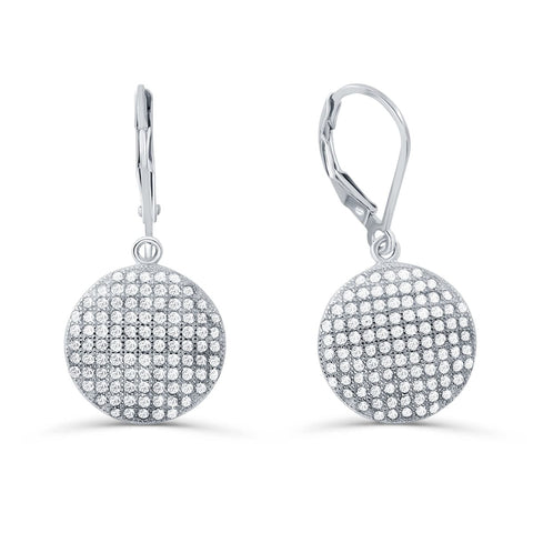 Sterling Silver Micro Pave Setting Cubic Zirconia Dot Earrings - Jewelry - Prjewel.com - 1