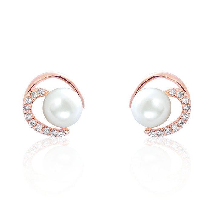 Gorgeous Circle 7-8mm Pearl CZ Rose Gold Over Silver Earrings - Jewelry - Prjewel.com - 1