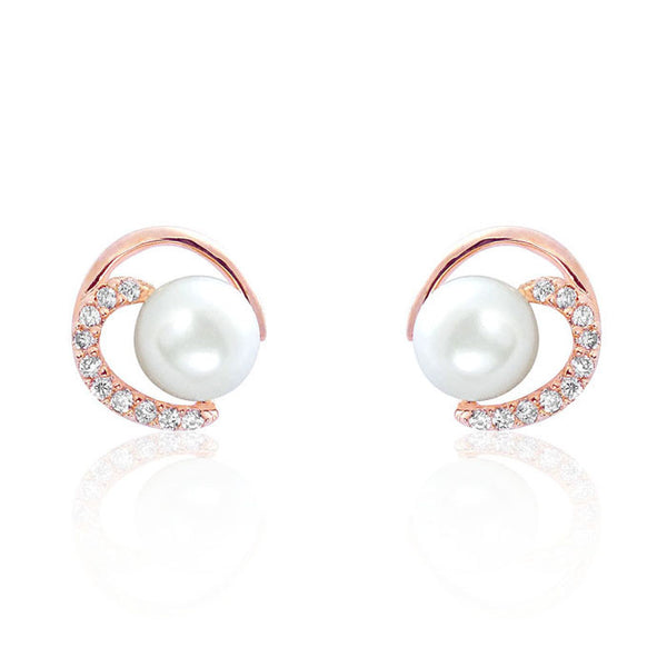 Gorgeous Circle 7-8mm Pearl CZ Rose Gold Over Silver Earrings