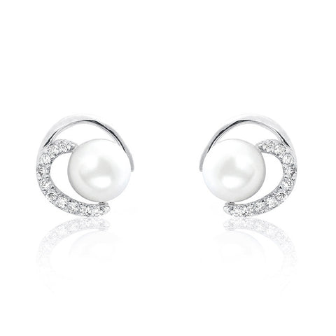 Gorgeous Circle 7-8mm Pearl Cubic Zirconia 925 Sterling Silver Earrings