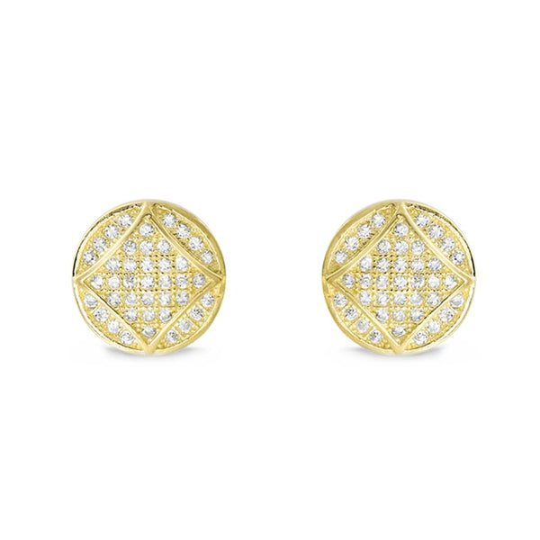 9K Gold Plated Silver Cubic Zirconia Fabulous Circle Earrings