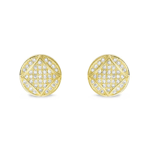 18K Gold Plated Silver Cubic Zirconia Fabulous Circle Earrings - Jewelry - Prjewel.com - 1