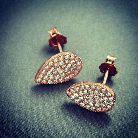 Elegant Drip Type Rose Gold Plated 925 Silver Cubic Zirconia Earrings