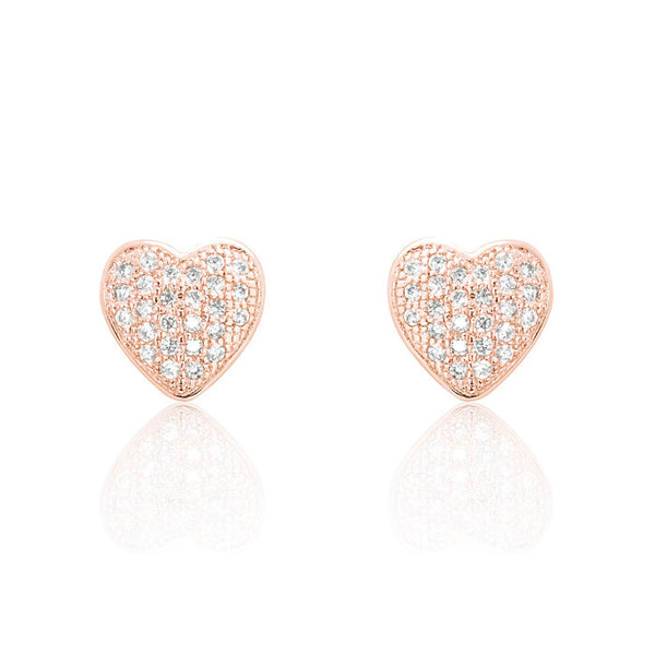 Sparkling Heart Cubic Zirconia 925 Sterling Silver Earrings Rose - Jewelry - Prjewel.com - 1