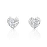 Sparkling Heart Cubic Zirconia 925 Sterling Silver Earrings - Jewelry - Prjewel.com - 1