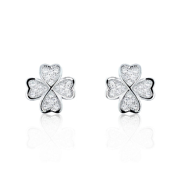 925 Sterling Silver Four Leaf Clover Cubic Zirconia Earrings - Jewelry - Prjewel.com - 1