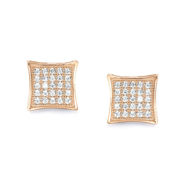 Fabulous Rose Gold Plated 925 Sterling Silver CZ Micro Pave Earrings