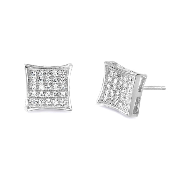 Fabulous 925 Sterling Silver Cubic Zirconia Micro Pave Setting Earrings
