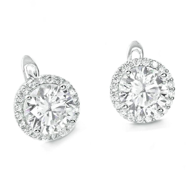 Gorgeous 925 Sterling Silver 8mm Brilliant Cut Cubic Zirconia Hoop Earrings - Jewelry - Prjewel.com - 1